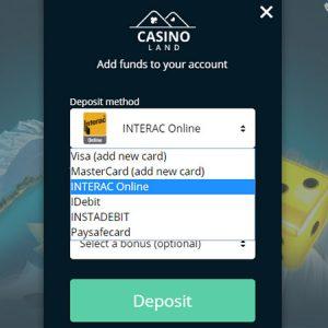 Casinoland CAD deposit methods